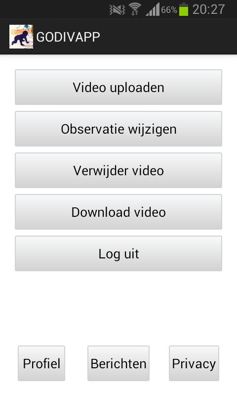 """""""Printscreen beginscherm app en scherm overzicht videomateriaal"""""""